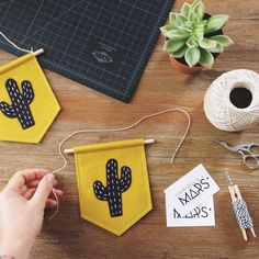 I'm not quite sure how Friday rolled around again so fast but HEY I'll take it! Getting a few mini cactus banners stitched and shipped out… Diy Home Crafts, Cute Crafts, Felt Crafts, Fabric Crafts, Felt Banner, Diy Banner, Diy For Kids, Crafts For Kids, Arts And Crafts