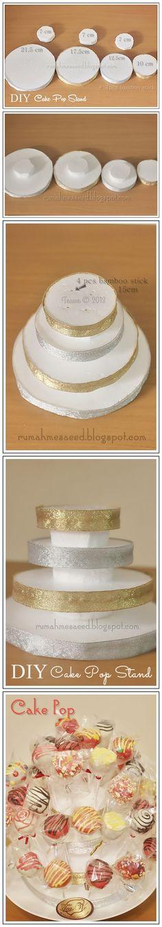 DIY Cake Pop stand tutorial http://rumahmesaeed.blogspot.com/2013/10/diy-cake-pop-stand.html