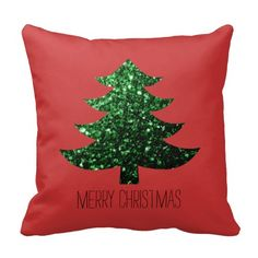 Merry Christmas tree green sparkles Red Throw Pillow Cushion by #PLdesign #ChristmasSparkles #SparklesGift