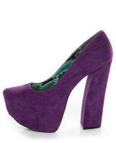 Fahrenheit Anne 08 purple Velvet Chunky Platform Heels    LOVE the color!