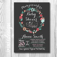DIGITAL FILE ONLY  Invitation supplied as a print ready digital file, for you to print at home, local print shop, office supply store or photo