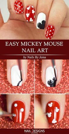 5 Lovely Mickey Mouse Nails Art Tutorials You'll Want to Try ❤ Easy Mickey Mouse Nail Art Mickey mouse nail art designs come in many types and colors. We will present to your attention mickey mouse nail art step by step so that even beginners will be Ongles Mickey Mouse, Mickey Mouse Nail Art, Mickey Nails, Minnie Mouse Nails, Disney Mickey, Nail Art Diy, Diy Nails, Cute Nails, Nail Nail