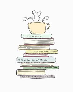 I Love Books & Tea Print  Kitchen Art Illustration by FlourishCafe, $35.00