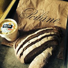 Poilane's pain au levain, butter mixed with Roquefort, drizzle with miel, top with walnut pieces. Toast a few mins. Voila, nice tatine.