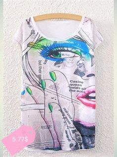 Fashionable Short Sleeve Newspaper and Eye Print T-Shirt For Women