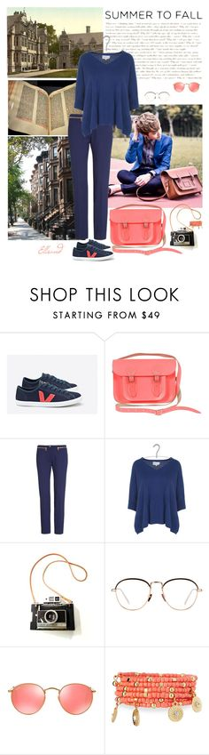 """""""College"""" by ellsand ❤ liked on Polyvore featuring The Cambridge Satchel Company, Brownstone, Versace, Sud Express, Linda Farrow, Ray-Ban and Emily & Ashley"""
