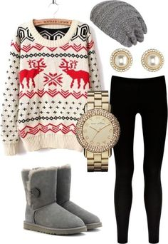 Perfect winter outfit. Looks so comfy! But...switch the leggings for skinny jeans :) #uggboot #ugg #boots #cozy #fashion @Gaby Molina