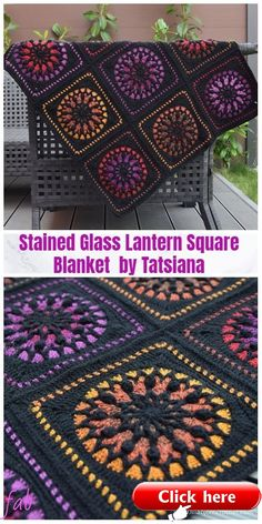 1a4afca5e3 Stained Glass Lantern Square Blanket Crochet Pattern Stained Glass Lantern  Square Blanket Crochet Pattern #grannysquares