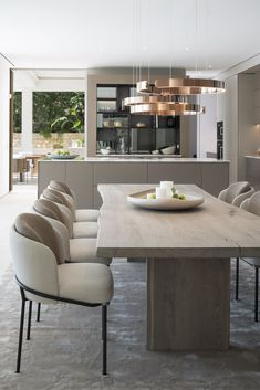 Perfectly capturing the purity of the environment, and designed to enhance it's owners' enjoyment, Seahouse is a tour de force of contemporary design. Luxury Dining Tables, Luxury Dining Room, Modern Dining Table, Dining Room Table Decor, Dining Room Design, Lighting For Dining Room, Dining Sofa, Room Chairs, Kitchen Interior