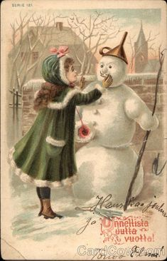 #Vintage #ChristmasCard - early 20th century. Found on: https://www.cardcow.com/288010/christmas-girl-with-snowman-santa-snowmen/