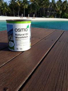 Natural Oil Woodstain (708 Teak) applied onto hardwood decking