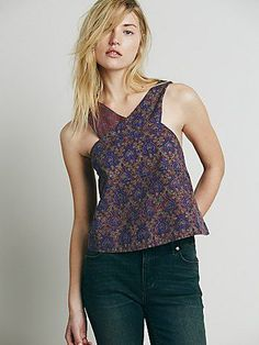 Free People Sleeveless Mixed Print Wrap Tank at Free People Clothing Boutique
