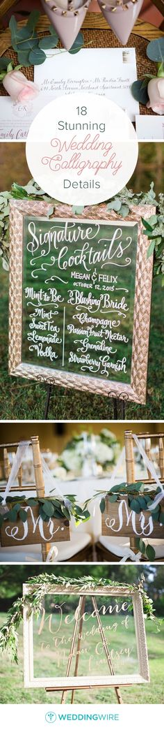18 Stunning Wedding Calligraphy Details - Get inspired by these modern calligraphy details to add an extra special touch to your wedding signage, stationery or decor found on @weddingwire! {Arden Photography; Alicia Wiley Photography; Kristen Jane Photography; Paperlily Photography}