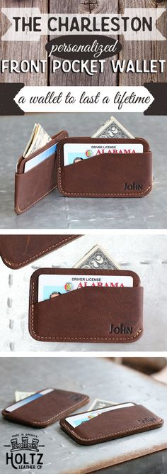 The Charleston triple sleeve fine leather wallet can be personalized however you wish! Add a name or initials to this wallet to make it even more special. This all-american full grain leather wallet is sure to last a lifetime.