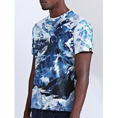 Abstract 3D Iceberg Print Round Neck Short Sleeves T-Shirt For Men #women, #men, #hats, #watches, #belts, #fashion