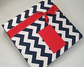 Baby Book /boy girl /NAVY CHEVRON with tied red knot /modern /personalized memory book /custom pregnancy album / diary/ 8.5x11 /150 pages