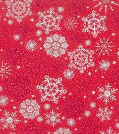 Holiday Inspirations Fabric-Christmas Snowflake Red Metallic