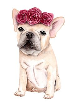 'Frenchie with Flowercrown - Watercolour Painting' by Patricia Tokarz Watercolor Pencil Art, Watercolor Projects, Watercolor Animals, Watercolor Paintings, Funny Animal Vines, French Bulldog Art, Cute Canvas, Pug Art, Dibujos Cute