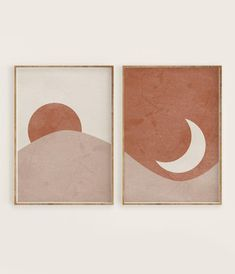 Sun and Moon Print Set of Abstract Landscape, Terracotta Printable Mid Centur. - Sun and Moon Print Set of Abstract Landscape, Terracotta Printable Mid Century Modern Minimal Wa - Diy Wall Art, Diy Art, Wall Art Bedroom, Simple Wall Art, Wall Art Boho, Painted Wall Art, Art Deco Wall Art, Simple Artwork, Cool Wall Art