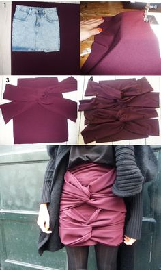 DIY: Burberry Double Reef Knot Skirt Copycat: Made with an old dress
