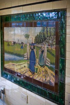 Close-up of Dutch mural in kitchen of 1910 Craftsman near Seattle, WA.