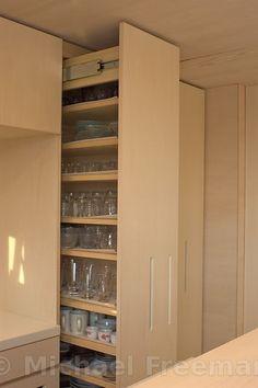 9-TSUBO HOUSE  Series of built-in kitchen storage. at a 9-tsubo house project: The architect, Koizumi, Shiga distric. Koga, Shiga district, Japan Author: Michael Freeman