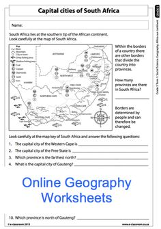 Map Worksheets For Fifth Grade Geography Worksheets, Social Studies Worksheets, Map Worksheets, Spelling Worksheets, Free Kindergarten Worksheets, Subtraction Worksheets, Science Worksheets, School Worksheets, Cities In Africa