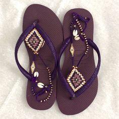 SALE Decorated Purple & Gold Beaded Handmade Flip by TribesBySaraK
