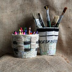 that artist woman: Basket Weaving using Recycled Containers Cool idea for plastic containers and teaching kids to weave a simple gift.  Nice.