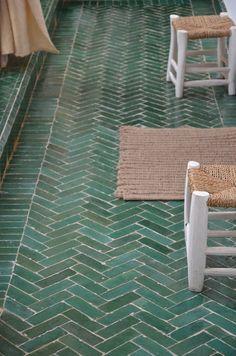 House Plant Maintenance Tips Herringbone Green Tile Floor Bathroom Flooring, Kitchen Flooring, Flooring Tiles, Cement Tiles, Planchers En Chevrons, Herringbone Tile Floors, Herringbone Pattern, Casa Milano, Master Bath Remodel