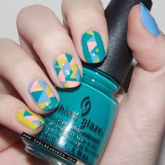 This #geometric #NailArt design is bright, colorful and perfect for a fun weekend. @queenchelsea