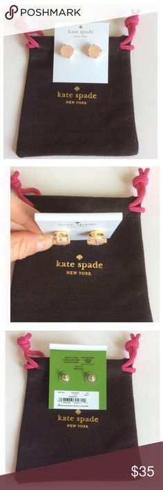 Kate Spade Gumdrop Studs Kate Spade Large Gumdrop Studs in Gold and Posey Pink color. Adds a bit of flare to any outfit. NWT, never worn. Dust bag included. kate spade Jewelry Earrings