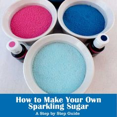 We have step by step instructions with pictures that show you how to make your own sparkling sugar in any color you like.