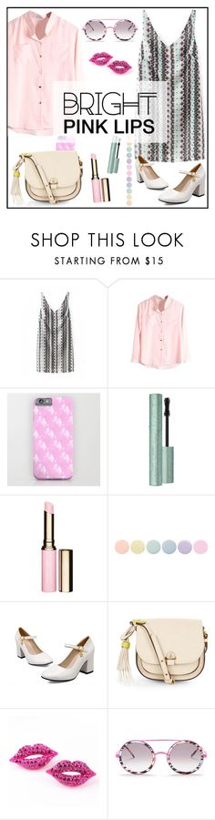 """""""Pink lips _ beautiful halo"""" by by-jwp ❤ liked on Polyvore featuring bellezza, Clarins, Deborah Lippmann, Accessorize, Wildfox, contest, contestentry, pinklips e beautifulhalo"""