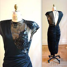 Vintage Black Illusion Dress Size Large// 80s by Hookedonhoney, $115.00