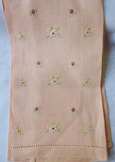 Kitchen Towel Linen Peach With Delicate Flowers by vintagelady7