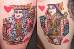 King & Queen Hearts Couple Tattoos