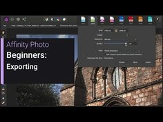 Beginners - Exporting (Affinity Photo) - YouTube Affinity Photo, Edit Photos, Photography And Videography, Photo Tutorial, Photoshop Tutorial, Photo Tips, Photography Tutorials, Photo Manipulation, Creative Art