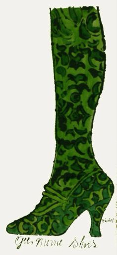 Gee, Merrie Shoes (Green), by Andy Warhol, 1956 Andy Warhol Quotes, Candy Darling, Shoe Art, Shoe Shoe, Chelsea Girls, Different Kinds Of Art, Before Midnight, World Of Color, American Artists