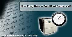 How Long Does A Pool Heat Pump Last? - It's certainly important to know just how long such an essential purchase will last. That being said, a quality heat pump will typically last 10-20 years before it needs any major repairs. Granted, that's not to say that there aren't exceptions. How long your pool heat pump lasts depends on a few factors. | http://www.medallionenergy.com/all-about-pool-heaters/how-long-does-a-pool-heat-pump-last/