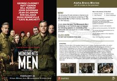 We are giving 20 lucky winners a chance to win pair of invites to the advance screening of 'The Monumnets Men' at Reel Cinemas, Dubai Mall 19th February. Simply share the post 'The Monuments Men | Screening' on our facebook page and answer the following question in comments of the same post, and you could win 2 invites, courtesy of Empire.