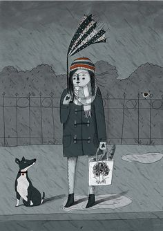 January Blues I Lizzy Stewart Rain Illustration, Simple Illustration, Lizzy Stewart, January Blues, 3 Arts, Artist At Work, Art Drawings, Sketches, Animation