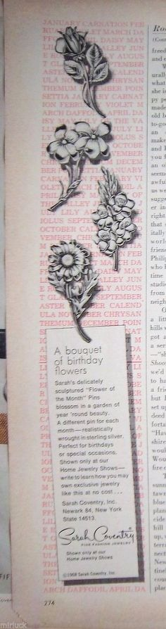 1968 Vintage Sarah Coventry Bouquet of Brithday Flowers PIN BROOCH JEWELRY Ad