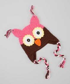 Pink & Cocoa Brown Owl Earflap Beanie | Daily deals for moms, babies and kids