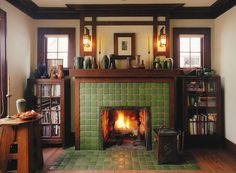 The fireplace is the hearth of the home. Warm and cozy is also beautiful with a Motawi custom designed fireplace.