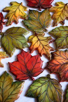 autumn cookies - Cake by Alina Vaganova - CakesDecor - Gebäck - Thanksgiving Leaf Cookies, Fall Cookies, Flower Cookies, Iced Cookies, Cute Cookies, Holiday Cookies, Cupcake Cookies, Onesie Cookies, Halloween Cookies Decorated