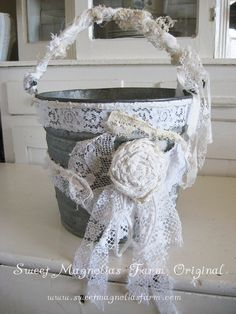 Tattered Antique Lace Galvenized Pail  So Chic Perfect for a Wedding by SweetMagnoliasFarm, SOLD