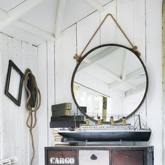 CABINE rust effect metal mirror H - @ Maison du Monde Round Mirror With Rope, Rope Mirror, Metal Mirror, Round Mirrors, Hallway Furniture, Dining Furniture, Small Furniture, Nautical Mirror, Industrial Wall Shelves