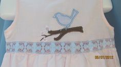 Pink Linen Blue Bird On a Branch Dress in Size 4 by hammies, $24.00