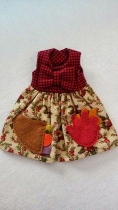 BUTTON ARCADE Blythe Doll Dress Thanksgiving Holiday Fall Cornucopia Pockets